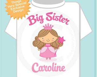 Princess Big Sister Shirt, Personalized Big Sister Shirt or Onesie, Big Sister Shirt for Toddlers and Kids (06112012a)