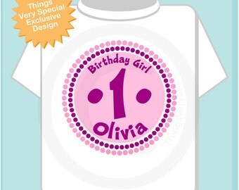 First Birthday Shirt, 1 Year Old Birthday, Pink and Purple Birthday Shirt Personalized Birthday Girl Circle Design Tee or Onesie (06192012b)