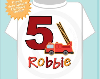 Fifth Birthday Fire Truck Shirt, Personalized 5 year old Fireman Shirt, 5th Birthday Fire truck Shirt with name and age (11082012c)