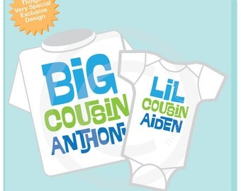 Set of 2 Big Cousin and Little Cousin Shirt Personalized Infant, Toddler or Youth Tee Shirt or Onesie Pregnancy Announcement (02102014j)