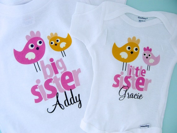 Big Sister Little Sister Outfit Shirt set of 2, Sister Bird Shirt, Personalized Tshirt with Cute Pink and Orange Birdies (12222011a)