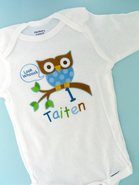 Personalized Birthday Boy Owl Shirt or Onesie with Child's Name and age (11232010a)