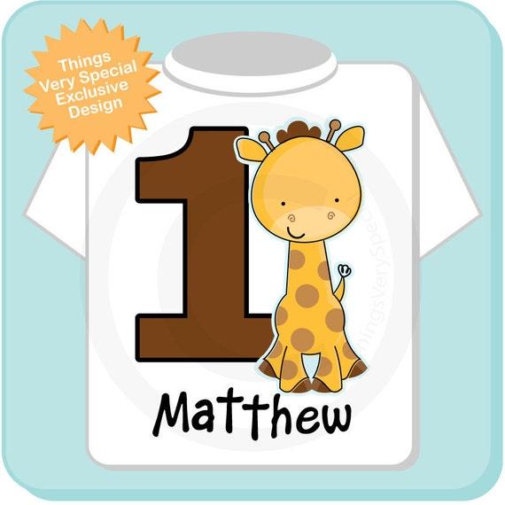 Personalized FIrst Birthday Giraffe Tee Shirt or Onesie, 1st Birthday Giraffe tee, Safari Theme (03142012d)