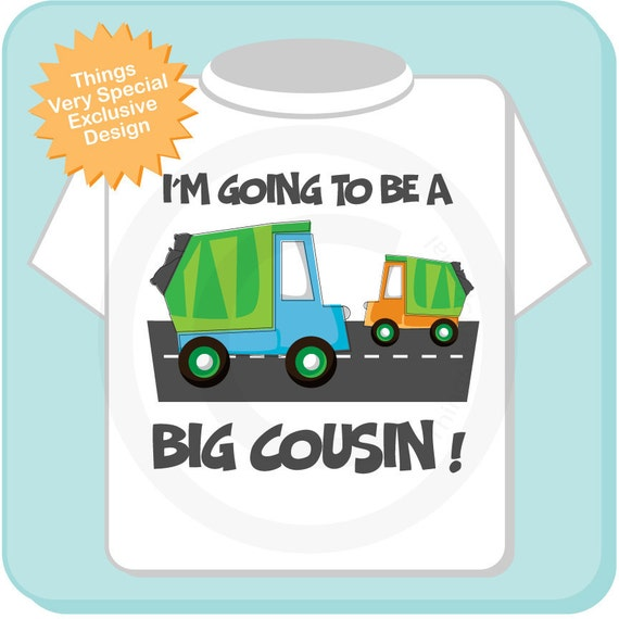 Personalized Big Cousin Garbage Truck Tee Shirt or Onesie, I'm going to be a Big Cousin with neutral sex baby truck (03192012c)