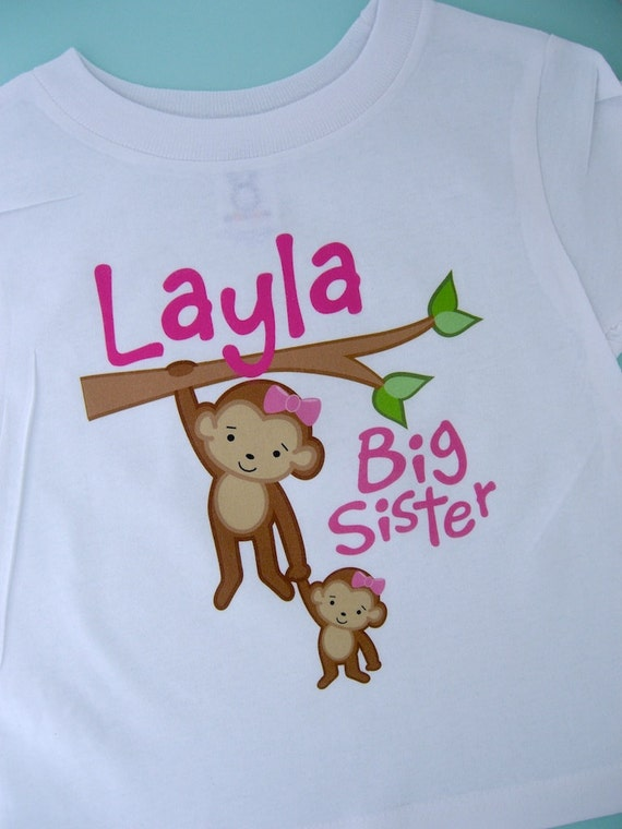 Big Sister Shirt or Onesie with Monkeys and Little Sister Personalized Big Sister Baby Tee Shirt Pregnancy Announcement (01022014b)