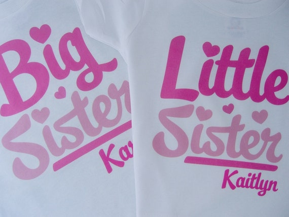 Matching Sibling Set of 2 - Big Sister Little Sister Pregnancy Announcement Outfit Tops - 02102012c