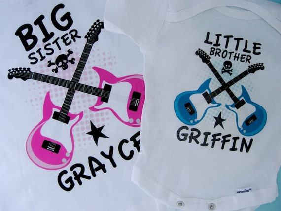 Set of Two Personalized Big Sister and Little Brother Guitar Rocker Shirt or Onesie, Infant, Toddler or Youth sizes t-shirt (02242015d)