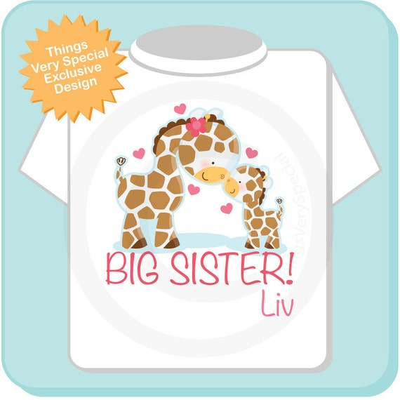 Big Sister Shirt, Big Sister Onesie, Personalized Big Sister Shirt, Giraffe Shirt with Little Brother or Unknown Sex Baby (05012012a)