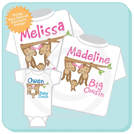 Set of Three Twin Big Cousin Shirts and Baby Boy Cousin Onesie, Monkey Shirt, Twin Big Girl Monkeys with baby, Personalized