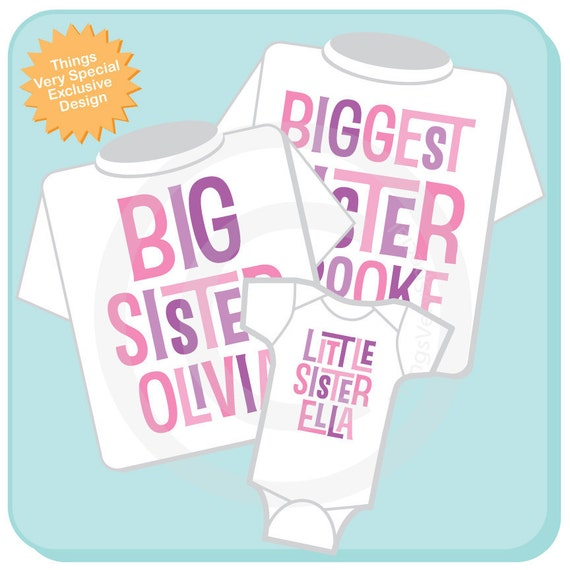 Biggest Sister Shirt, Big Sister Shirt, and Little Sister Shirt Set Personalized Tee Shirt or Onesie Pregnancy Announcement (02112014j)