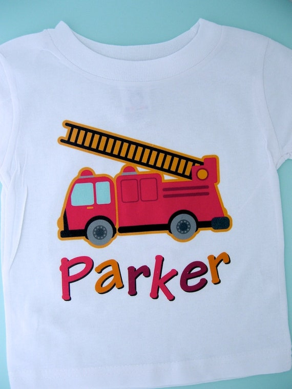 Boy's Fire Truck Shirt, Personalized Fire Truck Fireman Shirt Onesie or Tshirt with childs name (10282010a)