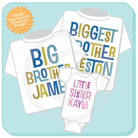 Set of Three Biggest Brother, Big Brother Shirt, and Little Sister Shirt or Onesie Set Personalized Pregnancy Announcement (12302013f)