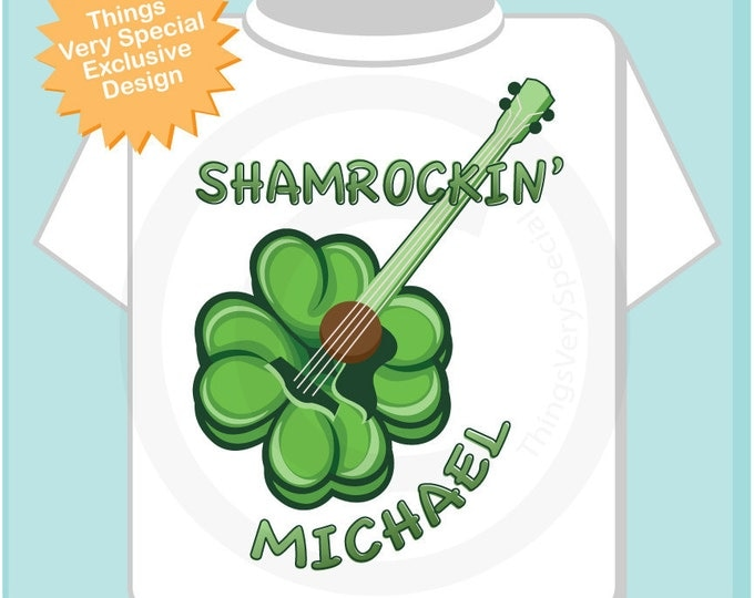 Shamrockin Personalized Tee Shirt or Onesie for toddlers and kids, St Patrick's Day Shamrock guitar tee or Onesie (02272012a)