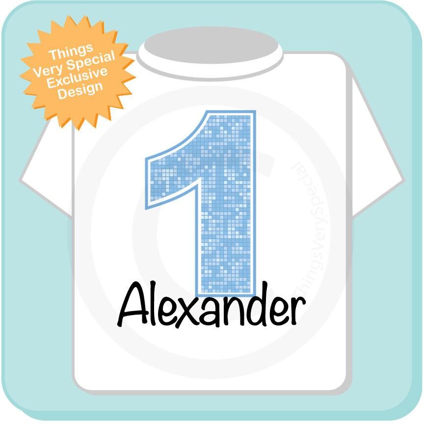 First Birthday Onesie Light Blue Number 1 1st Birthday Shirt