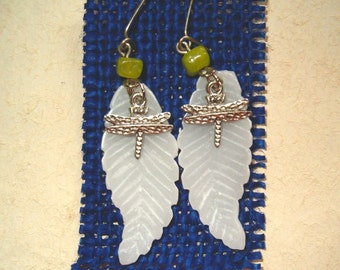 Alabaster Leaf and Dragonfly Earrings With Jade
