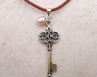Silver Key and Pink Pearl Necklace