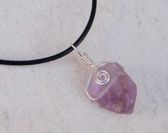 Silver Wrapped Amethyst on Leather