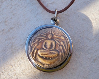 Sitting Buddha Necklace on Leather