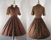 1950s Dress Vintage 50s HOT COCOA Vintage Atomic Print Brown Cotton Party Shirtwaister s xs