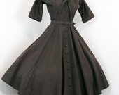 1950s Coat Dress - CACAO 50s Vintage Designer Chocolate Brown Silk Faille New Look Princess Bombshell
