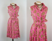 R E S E R V E D 1960s Dress - UTOPIA 60s Vintage Mad Men Hot Pink Metallic Gold Cotton Wrap Party Sundress xl