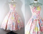 Vintage 1980s 1950s PERFECT DAY Strapless Princess Spring Fashion Garden Party Cotton Floral Sundress S M