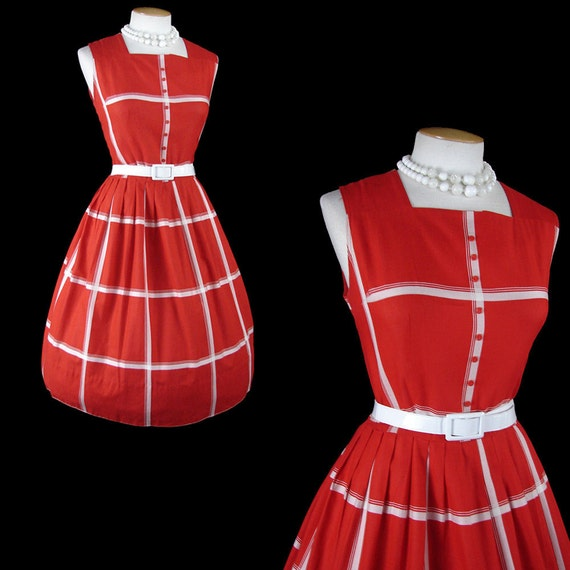 Vintage 50s SEASIDE COQUETTE Red White Plaid Cotton Sundress Party Dress m