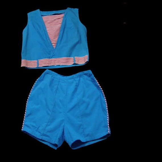 Vintage 50s 1950s Shorts and Top AHOY Nautical Rockabilly Sailor Playsuit Cotton Blouse and High Waisted Shorts Set vlv