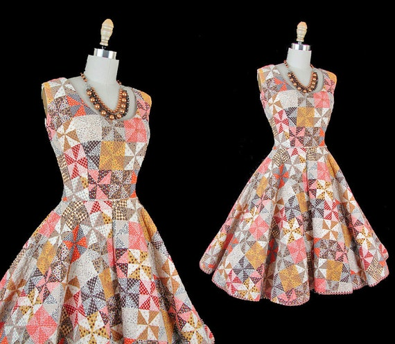 1950s Dress Carnival Pinwheel Vintage Colorful Quilted Cotton