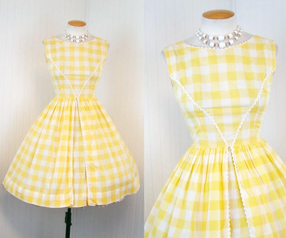 R E S E R V E D 1950s 1960s Dress -  LITTLE DARLIN Vintage 50s 60s Yellow Cotton Gingham Garden Party Sundress s