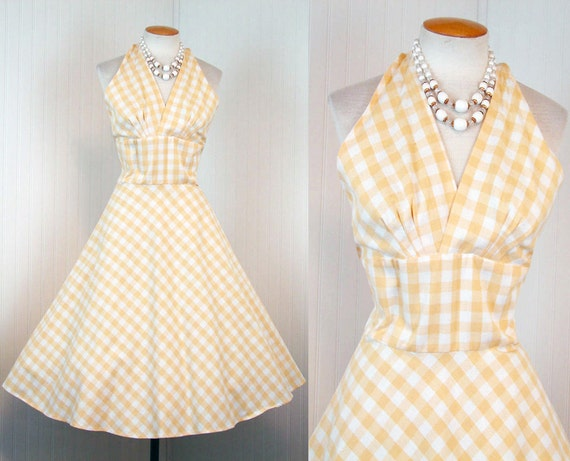 1950s 1960s Dress -  COMES THE SUN Vintage 50s 60s Yellow Gingham Halter Bust Shelf Sundress M