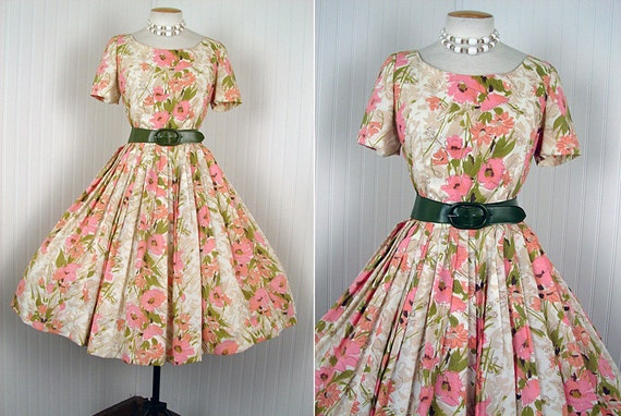1950s Dress - FONDLY YOURS Vintage 50s Peach Pink Olive Green Poppy Print Full Skirt Garden Party Day Dress m l