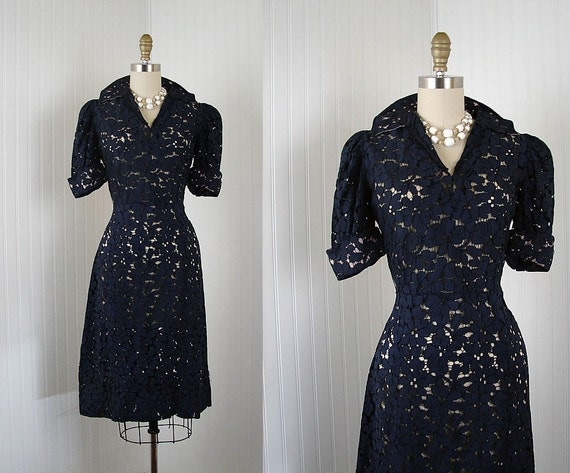 1930s Dress - NEVER SAY NEVER Vintage 30s Sheer Navy Puff Deco Party Tea Dress m