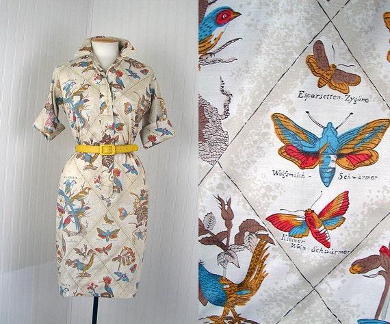 1960s Dress - EMBERIZA Vintage 60s Novelty Print BIRDS MOTHS Cotton Day Shirt Dress