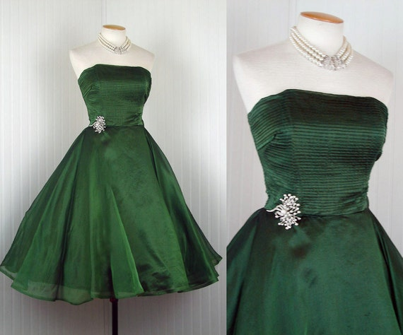 1950s Dress - EMERALD ISLE Vintage 50s Green Silk Organdy Strapless Circle Skirt Party Prom Dress and Bolero s