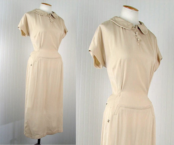 40s Dress - BUTTERCREAM FROSTING Vintage 1940s Ivory Rayon Gabardine Deco Hourglass Dress l xl