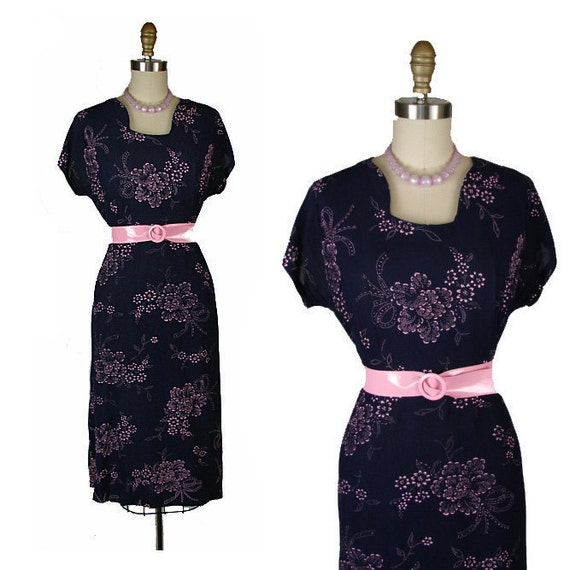 30s 40s Dress - SWEET FLING Vintage 1930s 1940s Navy Pink Deco Floral Print Rayon Swing Dress L Xl