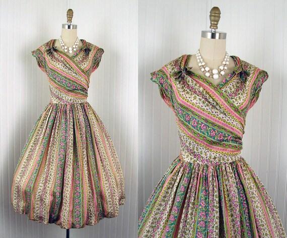 1950s Dress -  ARABELLA Vintage 50s Olive Pink Silk Roses Bombshell Garden Party Dress S