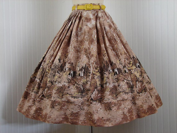 1950s Circle Skirt - FAIRY TALE 50s Novelty Full Skirt Chocolate Brown Mustard Cotton w Scenic Castle Print xs