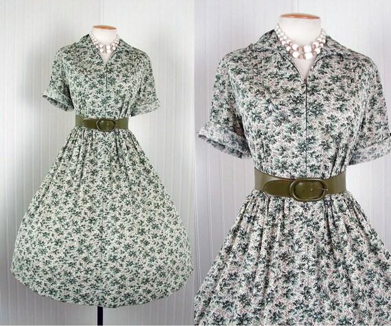 1950s Dress - BOULEVARD STROLL Vintage 50s Pine Green Novelty Atomic Tree Print Day House Jersey Dress xl xxl