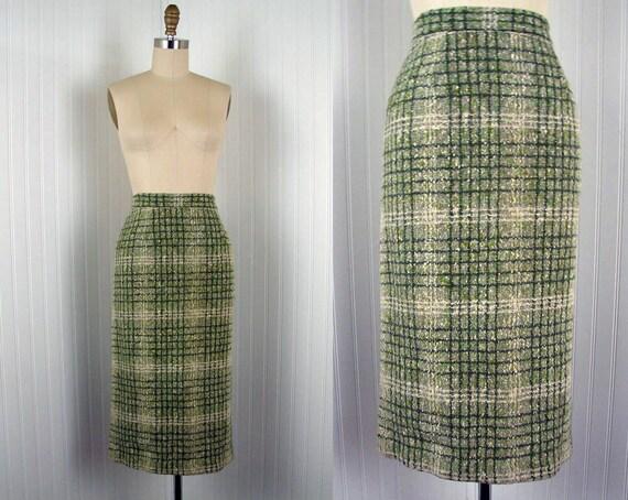 1950s Skirt - DOUG FIR 50s High Waist Olive Green Ivory Flecked Boucle Wool Pencil Skirt M
