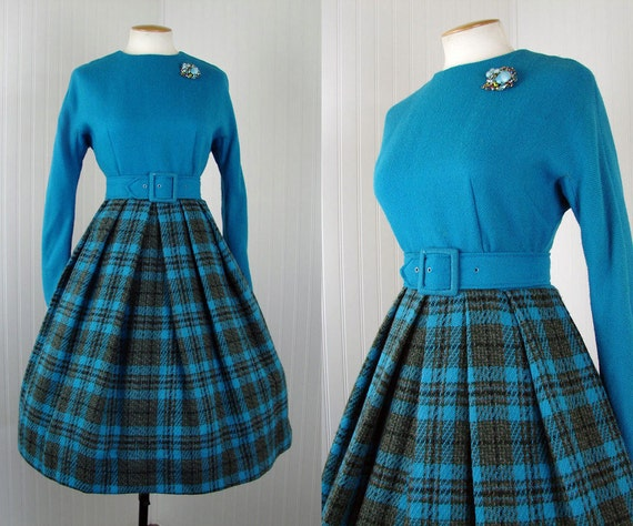 1960s Dress - SKIRTING THE ISSUE Vintage 60s Blue Plaid Wool Full Skirt Mad Men Sexy Secretary Dress m