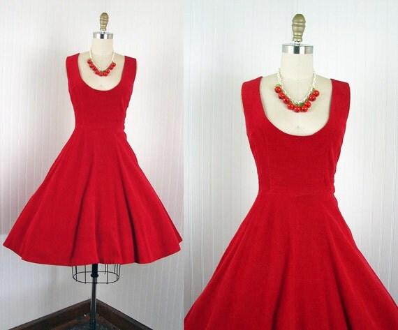 1950s Jumper Dress -  SANTA ANA Vintage 50s Red Cotton Corduroy Full Skirt Bad Girl Dress S M