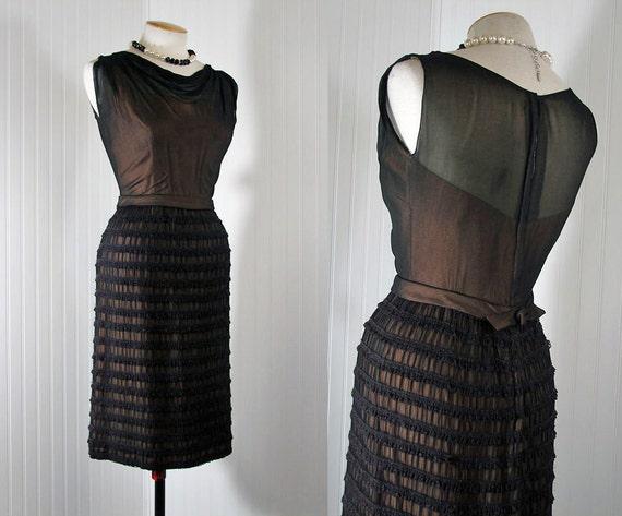 1950s Dress Vintage 50s DATE BAIT Black and Nude Illusion Peggy Hunt Designer Lace Chiffon Cocktail Party m