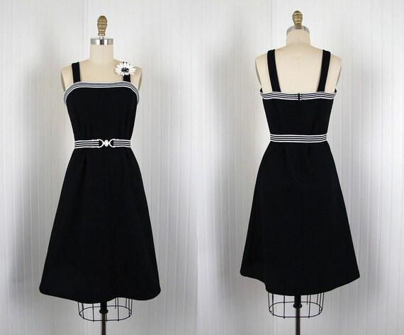 1960s Dress -  NIGHT AFTER NIGHT Vintage 60s Mod A Line Black White Jersey Sundress and Belt s m
