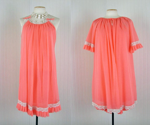 1960s Peignoir Gown - GLAMOURPUSS Vintage 60s Mad Men Coral Chiffon Goddess Nightgown and Robe