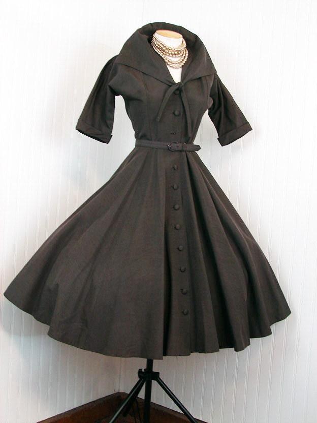 1950s Coat Dress Cacao 50s Vintage Designer Chocolate Brown