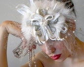 Snowy White Fresh Water Pearl and Swarovski Crystal Bridal Facinater, Handmade Millinery by Natalilouise