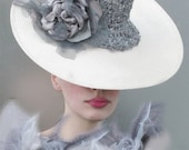 Cream and Dove Grey Sequined Silk Saucer Hat- handmade millinery by Natalilouise