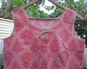 PINK LEAVES - pleated cotton top - Size M - pink tree print